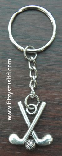 Hockey Sticks & Ball Keyring Key Ring Gift Souvenir